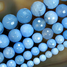 Faceted Blue Chalcedony Agate Round Beads 6,8,10,12,14mm Pick Size