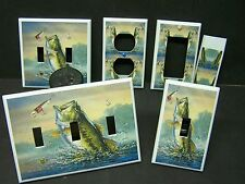 LARGE MOUTH BASS FISH FISHING IMAGE  #1   LIGHT SWITCH COVERS PLATE AND OUTLETS