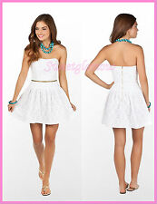 $228 Lilly Pulitzer 32680 Tenley Resort White Lace Me Up Strapless Dress