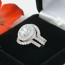 5 CT STERLING SILVER ROUND TRIPLE WEDDING ENGAGEMENT RING SET FREE RING BOX
