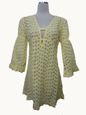 NWT Reina Yellow White Eyelet 3/4th Sleeves Swim Cover tunic Casual Dress S M L