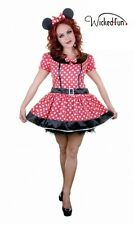 Sexy Ladies Womens Adult Mini Mouse Fancy Dress Red White Costume Disney Theme