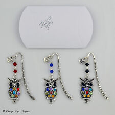Crystal Wise Owl Thank You Charm Teachers Bookmark Leaving/Christmas Boxed Gift