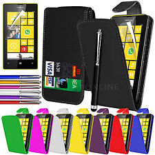 LEATHER FLIP CASE COVER POUCH, LCD FILM & STYLUS FOR NOKIA LUMIA 520