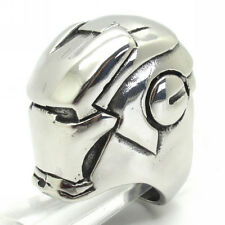 Huge&Heavy Mens Ring 316L Stainless Steel Silver Smooth iron man Masked Gift