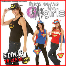 HEN PARTY SUPER HERO KITS Top/Cape/Hat/Bag Fancy Dress Costume LIMITED STOCK