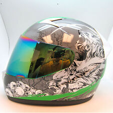 NEW 1STORM Adult Motorcycle Bike Full Face Helmet Booster Wolf Green S M L XL