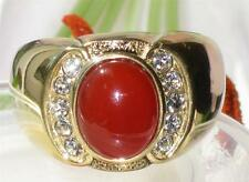 TK729PB MENS SIGNET  RING  ROLLED GOLD 18KT AGATE RED SEMI PRECIOUS SIAM