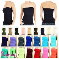 Long Layering Stretch Basic Strapless Solid Seamless Tube Top ONE SIZE