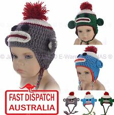 1 Kids Toddler Crochet Knit Pom Pom Animal Costume Party Hat Beanie SOCK MONKEY