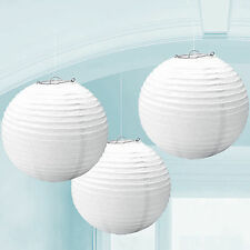 "10PCS White Round Paper Lanterns 8"" 10"" 12"" For LED BULB Wedding Party Decor"