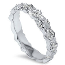 .50CT Vintage Sculptural Diamond Eternity Antique Wedding Ring 14K White Gold
