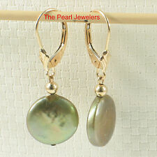 14k Yellow Solid Gold Leverback Pistachio Coin Cultured Pearl Dangle Earrings