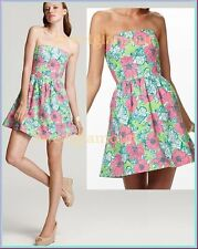 $188 Lilly Pulitzer 31703 Lottie New Green Bloomin Cacoonin Strapless Dress