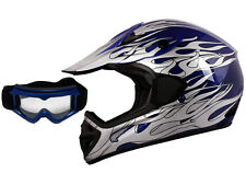 Blue Flame Dirt Bike Motocross Off-Road ATV Helmet MX Gear with Goggles