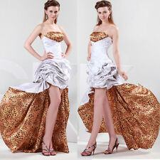 Elegant Leopard design Lady High-low Formal Gown Evening Prom Party Long Dress