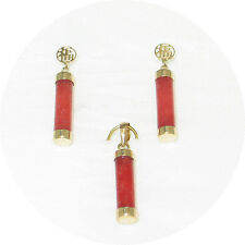 14k Yellow Gold Good Fortune Dangle Tube Red Jade Stud Earrings & Pendant
