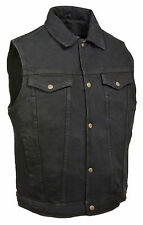 Men's Black Denim Motorcycle Vest w/ Collar - Biker Style - Gun Pocket