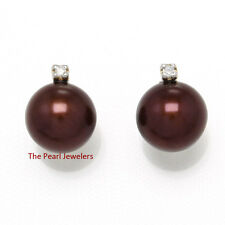 14k Yellow Solid Gold Sparkling Diamond; Chocolate Cultured Pearl Stud Earrings