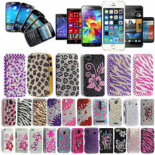 Crystal Diamond Bling Gems Hard Back Case Cover For Various Phones +Guard+Stylus
