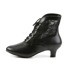 """Gorgeous 2"""" Black & Lace Victorian Granny Ankle Boots Witch Goth Steampunk 6-12"""