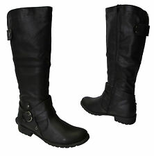 WOMEN LADIES MILITARY RIDING KNEE HIGH BUCKLE STRAP ZIP LOW HEEL FLAT BOOTS SIZE