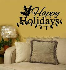 Happy Holidays Christmas Home Decor Vinyl Decal Sticker Wall Lettering Quote