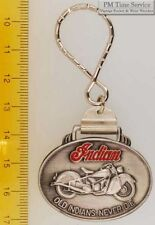 Sturdy key chain with an oval brushed silver-toned Indian motorcycle shield