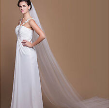 new 1T chapel Length veil 3M white ivory wedding bride party mantilla with comb