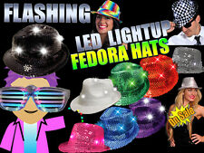 HALLOWEEN Flashing LightUp Sequin Fedora Hats -Several Colors To Choose!