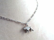 Pewter Bulldog Charm on a Silver Tone Figaro Chain Necklace-5165