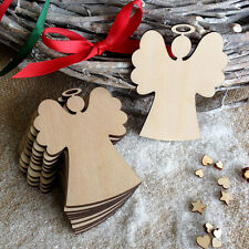 Ten Wooden Angels Hanging Christmas Tree Blank Decorations Gift Tag Shapes