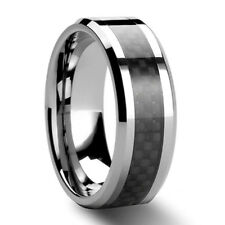 Black Carbon Fiber Tungsten Carbide Ring Mens Wedding Band Size 6 - 13 & half