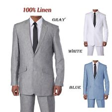 New Mens Suit 100% Linen Jacket Pants set Luxurious 2 Buttons Style 612