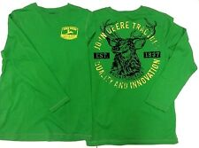 NEW John Deere Green 2 Sided Design Long Sleeve T-Shirt Boys Sizes 8, 14