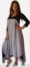 black gray maxi dress 3/4 sleeve color block stretch jersey stunning