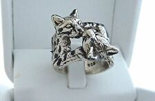 Cat Ring Bengal Sterling Silver 925 Double Kitty Cat Lovers Kitten Tabby Sz 5 -8