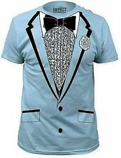 BLUE TUXEDO TSHIRT TUX FUNNY RETRO PROM RUFFLED COSTUME DUMB DUMBER TEE S-2XL