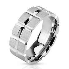 Stainless Steel Matte Finish Grooved Wedding Band Men's Ring