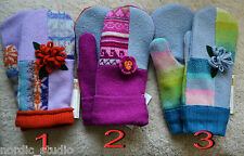 HANDMADE 100% WOOL recycled sweater MITTENS, Fleece Lined,Fair Isle, patchwork