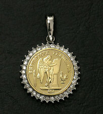 French Angel Gold Coin Reproduction In Cubic Stone Setting W/ Chain Option