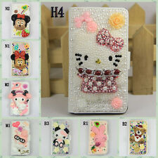 Bling Crystal Pearl Hello Kitty Minnie Leather Flip Case Cover For HTC