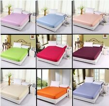 NEW AMERICAN Bedding Cotton Luxury Plain Dyed Fitted Sheet