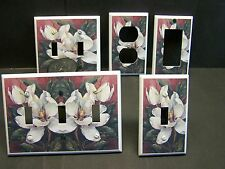 MAGNOLIA FLOWER ON REDISH BACKGROUND  #1  IMAGE LIGHT SWITCH COVER PLATE