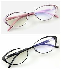 New Women's Reading Glasses Fashion Style Metal Frame Readers Pink & Black