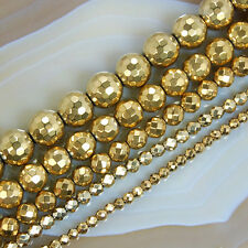 15.5inches Faceted Golden Hematite Round Gems Beads 3,4,6,8,10mm