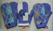 HANDMADE WOOL recycled sweater MITTENS, Fleece Lined LAVENDER ARGYLE / FLOWER
