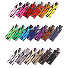 14 Colors Mens Womens Clip-on Suspenders Elastic Y-Shape Adjustable Braces