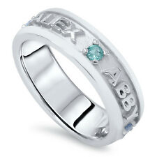 Peronalized Mothers Family Birthstone Ring Band Engraved Name 14K White Gold