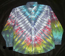 GREY RAINBOW V TIE DYE OXFORD SHIRT 100% COTTON